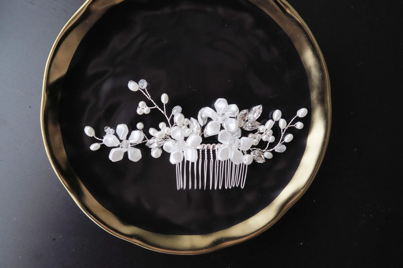 Beaded Silver Hair Comb Bridal Comb Wedding Headpiece Bridal Headpiece Flower Hair Comb Vintage Inspired Wedding Hair Accessory