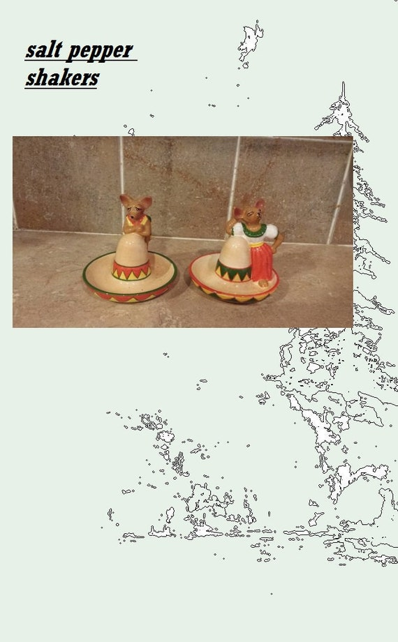 Vintage Mexican Hat salt and pepper shakers with Mr and Mrs  791e2b3118e