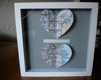Framed Home is wherever I'm with you - 2 heart map art - Valentines day, Anniversary, Wedding, Birthday, mothers day gift