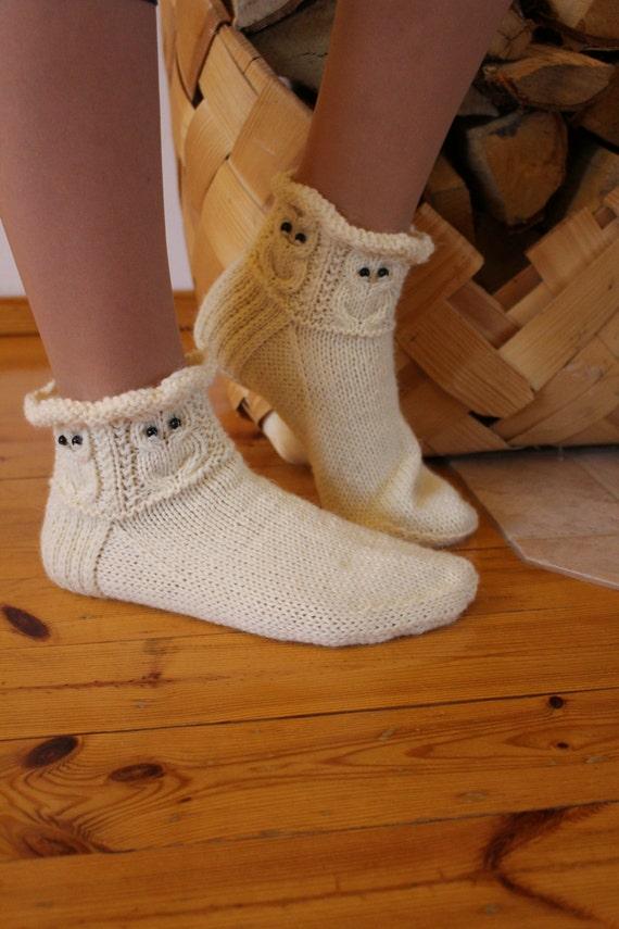 Grün graue Eulen Socken Hausschuhe Frauen Mens warme gemütliche Wolle Socken dunkel grau grün handgestrickt Geschenk Idee Zuhause entspannen warm