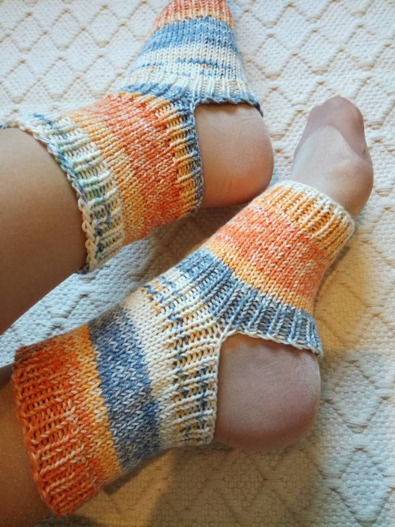soft gift Handmade in Finland Yoga socks warmers Handknitted dance pilates spa socks women teen girl orange blue white OOAK shades socks