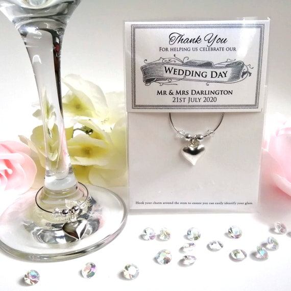 Wedding Party Christening Favours 20 Pink Wine Glass Charms With Butterflies