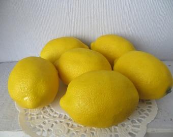 "Artificial Lemons (6) Lg. Yellow Fake Faux Fruit, Kitchen Decor,Fruit Bowl,Crafts, Wreath Supply, Jar Vase Filler,3-1/2"""