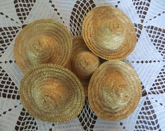 """Doll hats,4 straw hats, woven, wicker, doll supplies, SET OF 4 hats,4"""""""