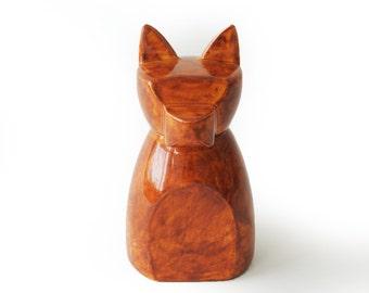 Small Anubis Dog Urn-  Autumn Red