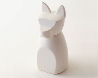 Large Dog Urn in Matte White