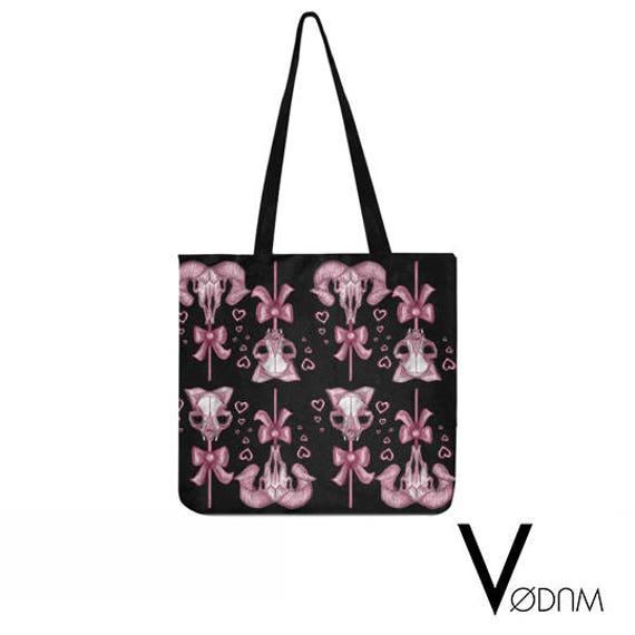 dbd442febde CANDY SKULLS Tote bag Gothic Kawaii Sweet Bat Pink Black | Etsy