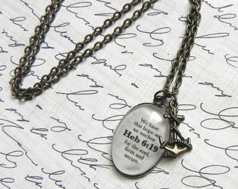Hebrews 6:19 Bible Verse Necklace Hope and Anchor