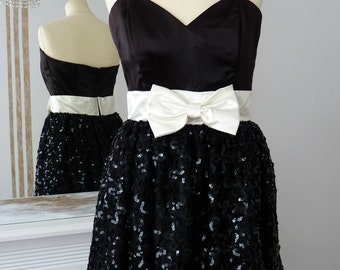 1980's GUNNE SAX Evening Cocktail Prom Strapless Dress, Black Satin, Cream Lace, Shiny Sequins, White Bow, Elegant Feminine, UK size 12/14
