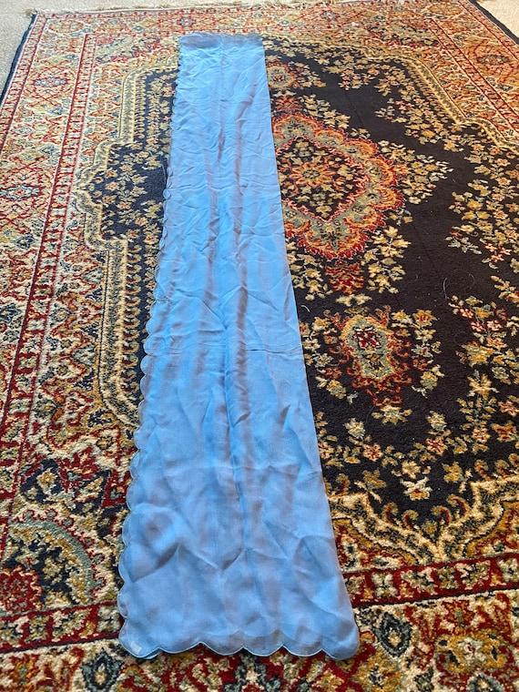 Vintage Long Silk Scarf, Periwinkle Blue