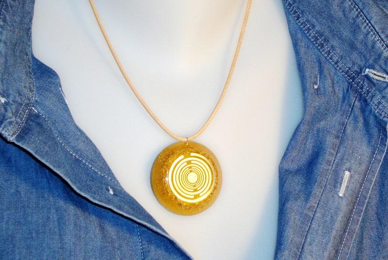 Orgone orgonite\u00ae all-powerful golden pendant protection MWO Lakhovsky antenna 24K 2 gold plated prosperity power of gold EMF block