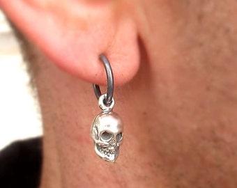 70171b9e6 Mens Earring - Skull Earring for Men - Mens Jewelry - Punk Earring - Hoop  Earring - Black Earring - Unisex Earring - Gothic earrings