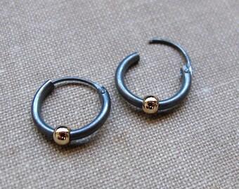 1794001db Black Earrings with Gold Bead for Men, Mens earrings, Unisex Huggie Hoop  Earring, Dark Sterling Silver Jewelry, Gold Filled Ball, Mens Hoops