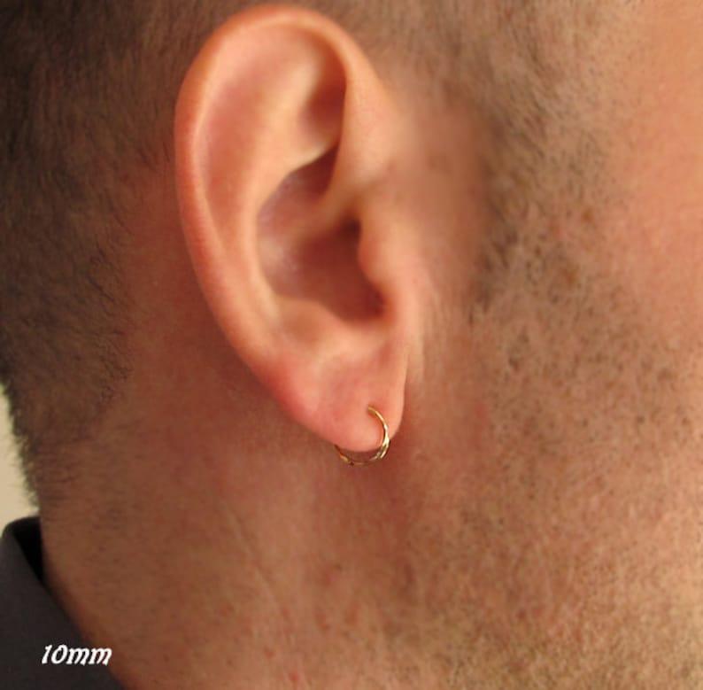ab6449de74807 Mens Gold Earrings. 10mm Hoop for men. 14K Gold Filled. Mens Jewelry.  Unisex Jewellery. 2 Cartilage, Helix / Small Hoops for Men / Male Hoop
