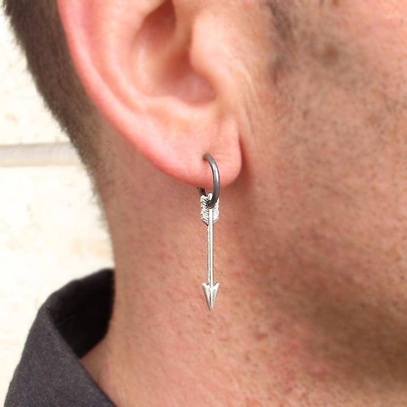 3059eb9ebd0cc Mens Earring, Arrow Earring for men, Unisex Jewelry, Mens Jewelry, Black  Hoop, Gifts for Men - mens style - Single Arrow Charm Earrings