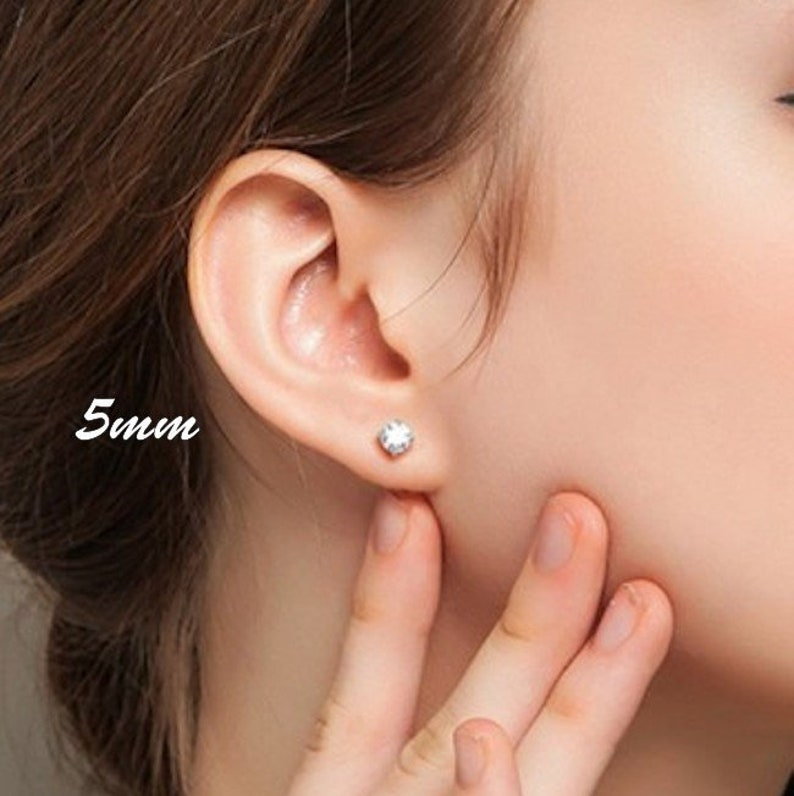 c367e026f High Quality Round Cz Stud Earrings. Sterling Silver 5mm   Etsy