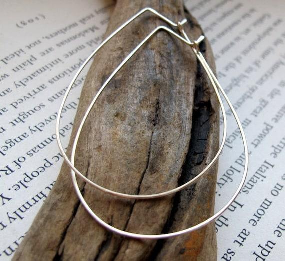 20bc3371b Sterling Silver Teardrop Hoops Modern Hoop Earrings Large | Etsy