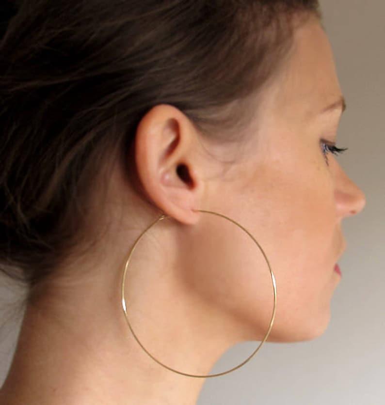 7606b0e16 Large Gold Hoop Earrings 3 inch Gold Hoops Big Hoops large | Etsy