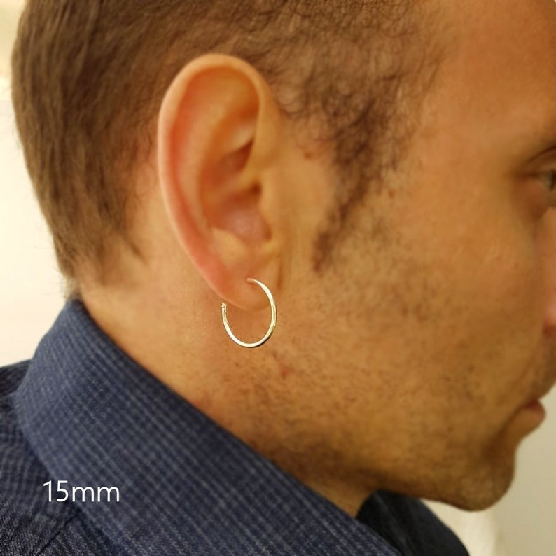 402fd97d716ac Sterling Silver hoop earrings for men Earrings for men Mens   Etsy