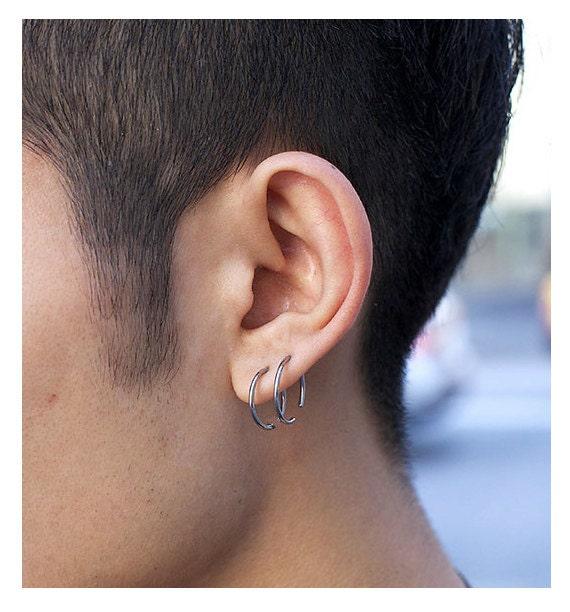 Fashion Mens Earrings Unisex Hoop Earrings Black Hoops For Etsy