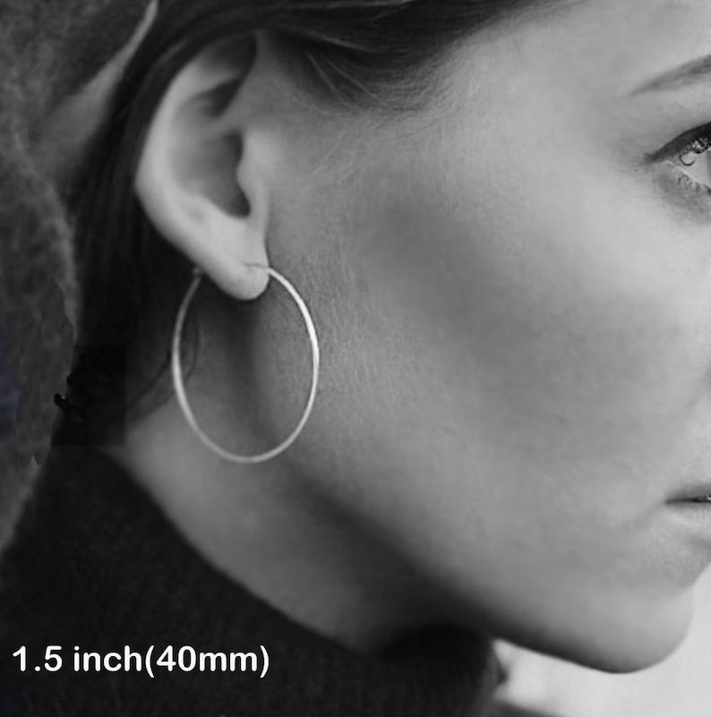 10bb036b9 Thin Sterling Silver Hoop Earrings 1.5 inch Round Hoops. | Etsy