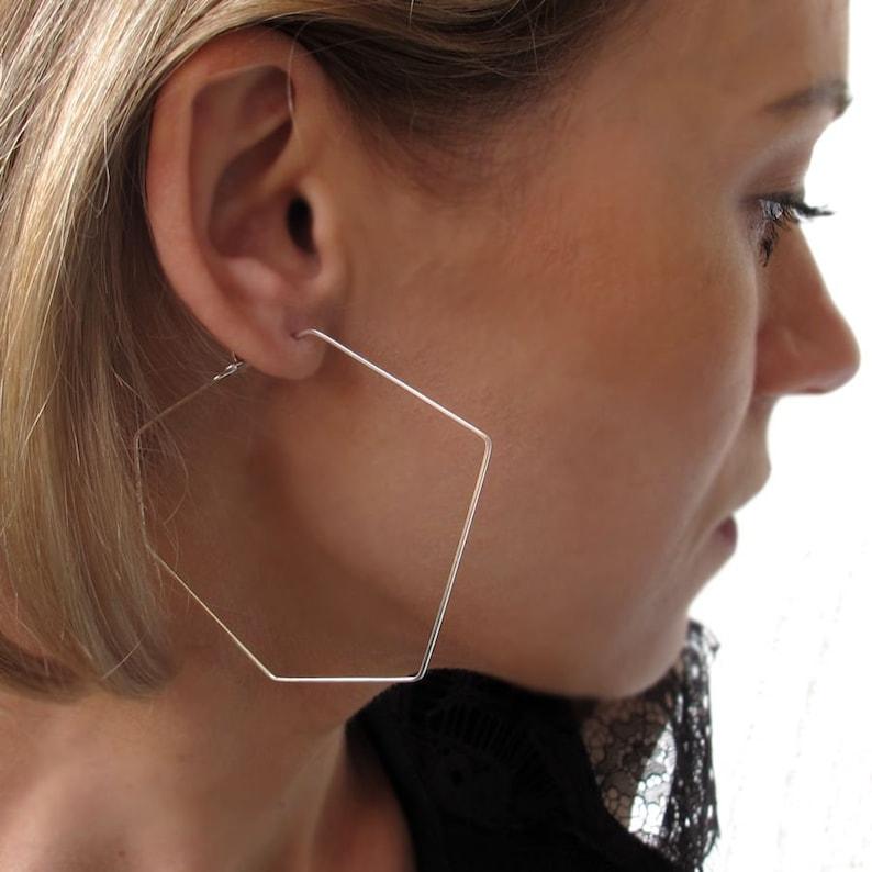 3b326e79e70774 Angular Hoops Sterling Silver Freeform Hoop Earrings hexagon | Etsy