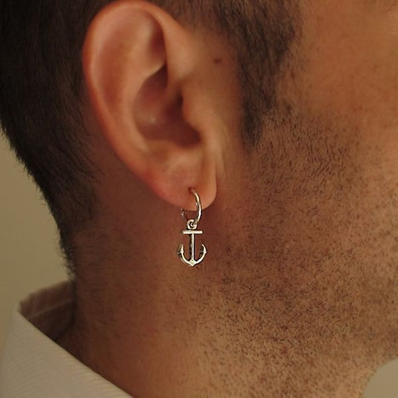 Mens Earring Single Anchor Earring For Men Sterling Silver Etsy