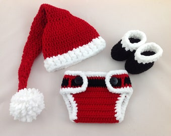 b1e06da31b2 Baby Santa Outfit - Crochet Santa Hat Diaper Cover Set - Baby First  Christmas - Newborn - Photography Prop - Baby Boy - Baby Girl