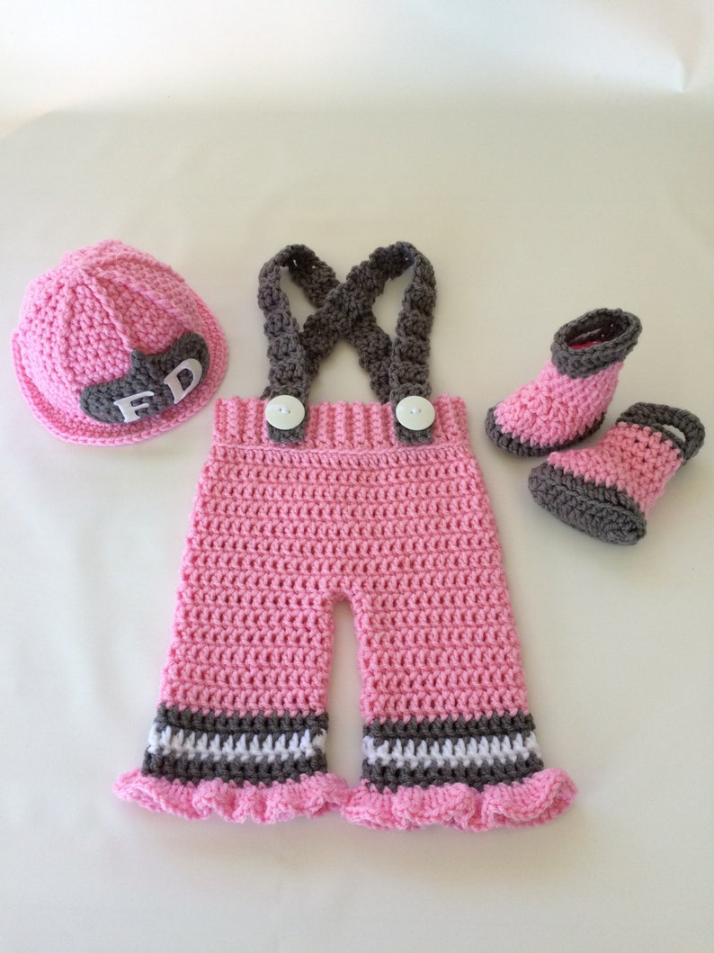 f96e38066 Baby Girl Firefighter Fireman Crochet Pink Hat Outfit 4pc | Etsy