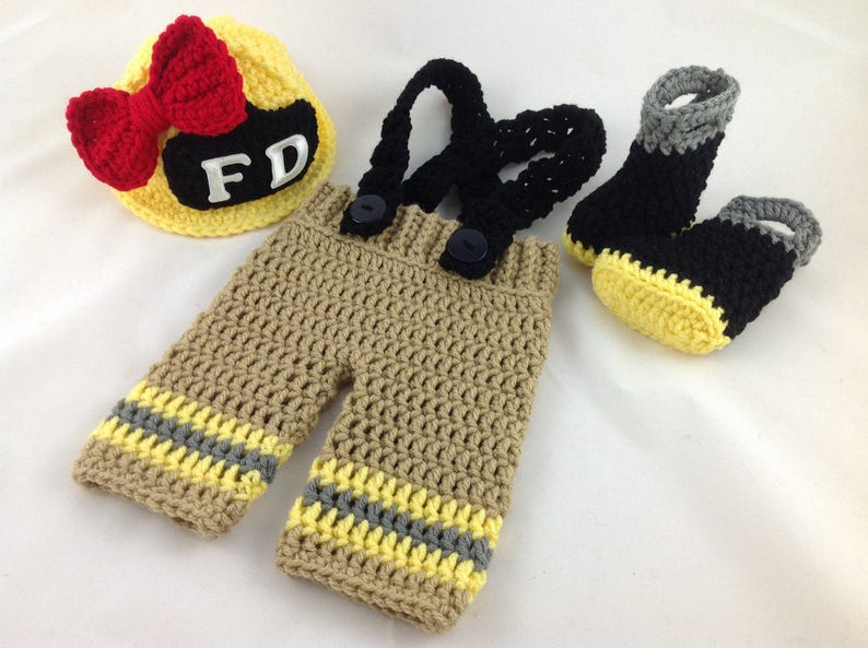 Baby Girl Firefighter Fireman Crochet Yellow Hat wBow Outfit Newborn Photography Prop 4pc Turn Out Gear wSuspenders /& Boots