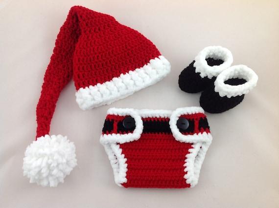 5836d6ed2a4 Baby Santa Outfit Crochet Santa Hat Diaper Cover Set Baby