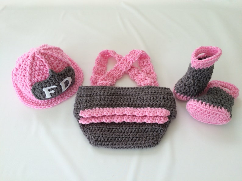 719389f8e Baby Girl Firefighter Fireman Hat Outfit 4pc Crochet Diaper | Etsy