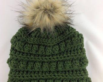 Pom Pom Hat - Chunky Hat - Bobble Hat - Bobble Toboggan - Womens Winter Hat - Toboggan Hat - Pom-Pom Hat - Fur Pom Pom - Winter Fashion Hat