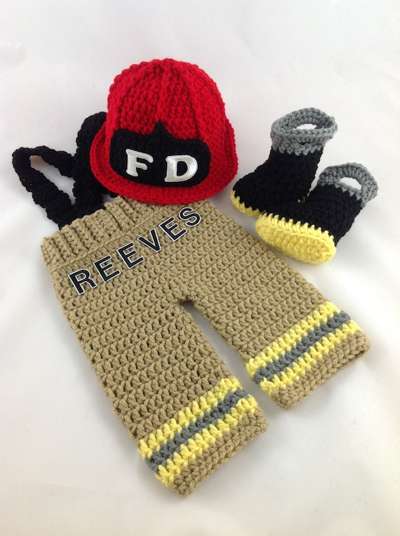 c41d41eb439 Baby Firefighter Fireman Red Hat Crochet Outfit 4 PC Turn