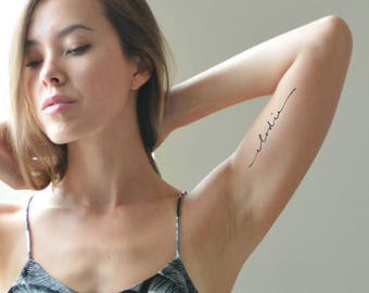 Flowy Calligraphy Tattoo Design - Name Tattoo - Mother Daughter Tattoo by Pasadya