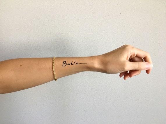 Bella Pretty Font Wrist Tattoo Design By Pasadya Etsy