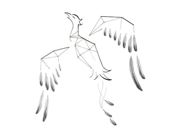 Minimal Geometric Animal Tattoo Design Custom Drawing Tattoo Etsy