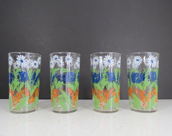 778812a4290 Vintage Floral Drinking Glasses Set    Set of FOUR Mid Century Modern  Wildflower Daisies Pansies Clear Tumblers Swanky Swigs Sips Style Boho