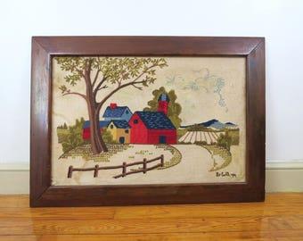 Large Framed Crewel Embroidery Scene // Vintage Finished Completed Farm House Scene Rustic Cottage Chic Home Decor Yarn Fiber Arts