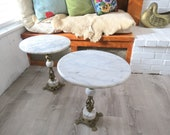 Marble and Brass Tables Pair Vintage Set of Two Small End Tables or Nightstands, Brass Plant Stands, Bohemian Hollywood Regency Bronze