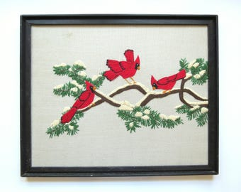 Vintage Cardinal Embroidery // Retro Crewel Embroidered Art, Birds on a Branch, Snowy Winter Wall Hanging Decor Mid Century Modern Retro