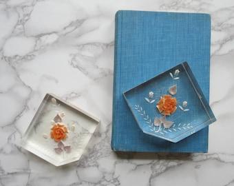 Pair of Lucite Paperweights // Vintage Reverse Carved Orange Floral Mid Century Modern Desktop Decorations Office Supplies Retro Kitsch
