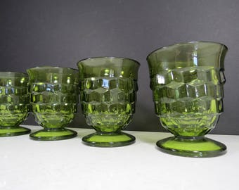 Green Glass Tumblers Set // Vintage Set of Four Whitehall Glass Drinking Glasses Cube Cubist Pattern Collectible Mid Century Retro