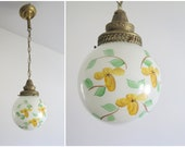 Vintage Brass Pendant Light Brass Hanging Light Fixture with Hand-Painted Floral Glass Shade, Rustic Farmhouse Kitchen Lighting Bohemian