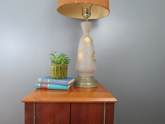 Mid Century Glass Table Lamp Vintage Tall Frosted Glass Etsy
