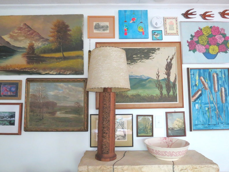 Mid Century Cork and Wood Lamp  Vintage Tall Large Statement Piece Table Lamp Modern Contemporary Hollywood Regency Cylindrical Lamp