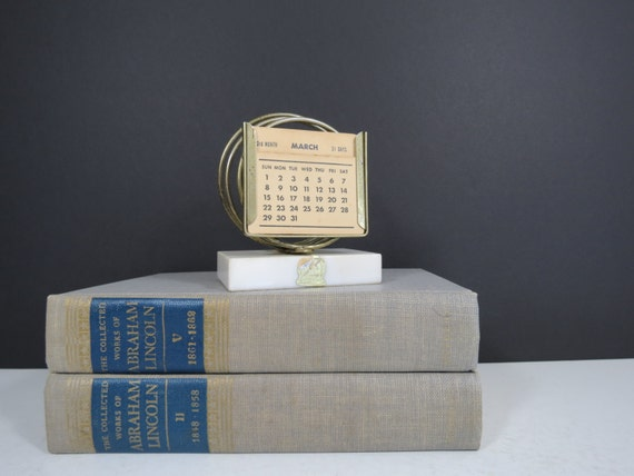 - Antique Perpetual Desk Calendar // Vintage New Diamond Genuine