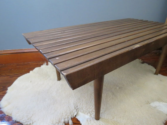 Pleasing Vintage Small Slat Bench Mid Century Modern Wooden Slat Bench Short 36 Size Mod Furniture Coffee Table Or Entryway Bench Medium Wood Creativecarmelina Interior Chair Design Creativecarmelinacom