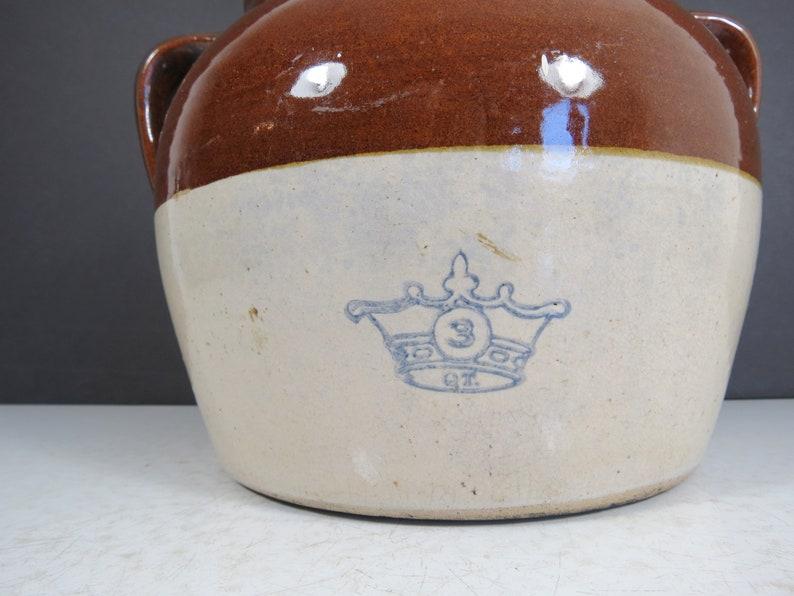 Vintage Bean Crock  Antique Rustic Style 3 Quart Pottery Stoneware Boston Baked Beans Pot with Lid Farmhouse Kitchen Planter Brown White
