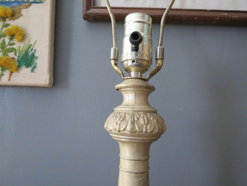 Antique Art Deco Lamp  Antique Rustic Marble Stone Base Column Cast Metal Lamp Farmhouse Shabby Chic Bedside Light Gold Champagne
